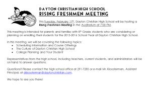 DCHS Rising Freshmen Meeting PIC