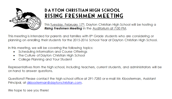 DCHS Rising Freshmen Meeting PIC