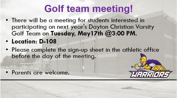 Golf Team Meeting